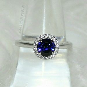 Sterling Silver Blue & White Sapphire Ring